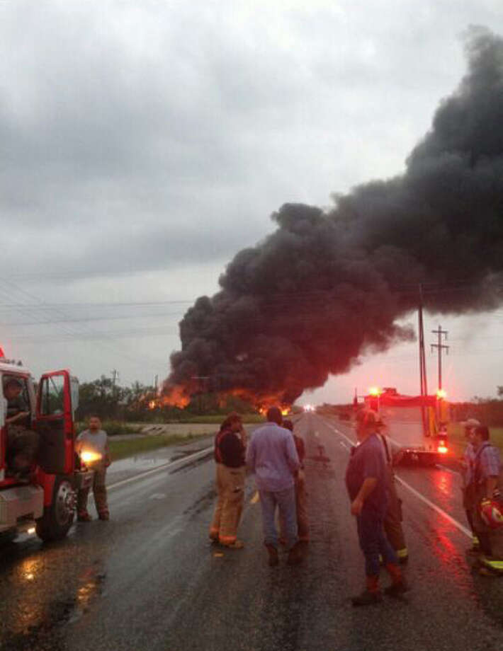A fire at a salt water disposal plant prompted Atascosa County  authorities to close Highway 16 in Jourdanton. Photo: Atascosa County Sheriff's Office