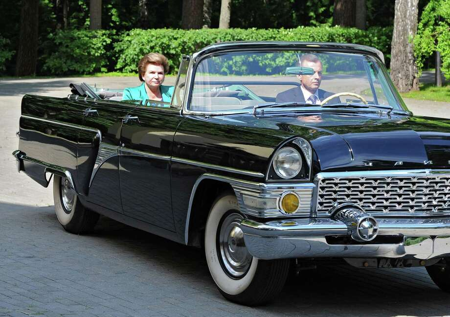 Valentina Tereshkova, who became the first woman to travel to space in June 1963, is driven to a meeting with Russian President Vladimir Putin to commemorate the anniversary. Photo: Mikhail Klimentyev / Associated Press