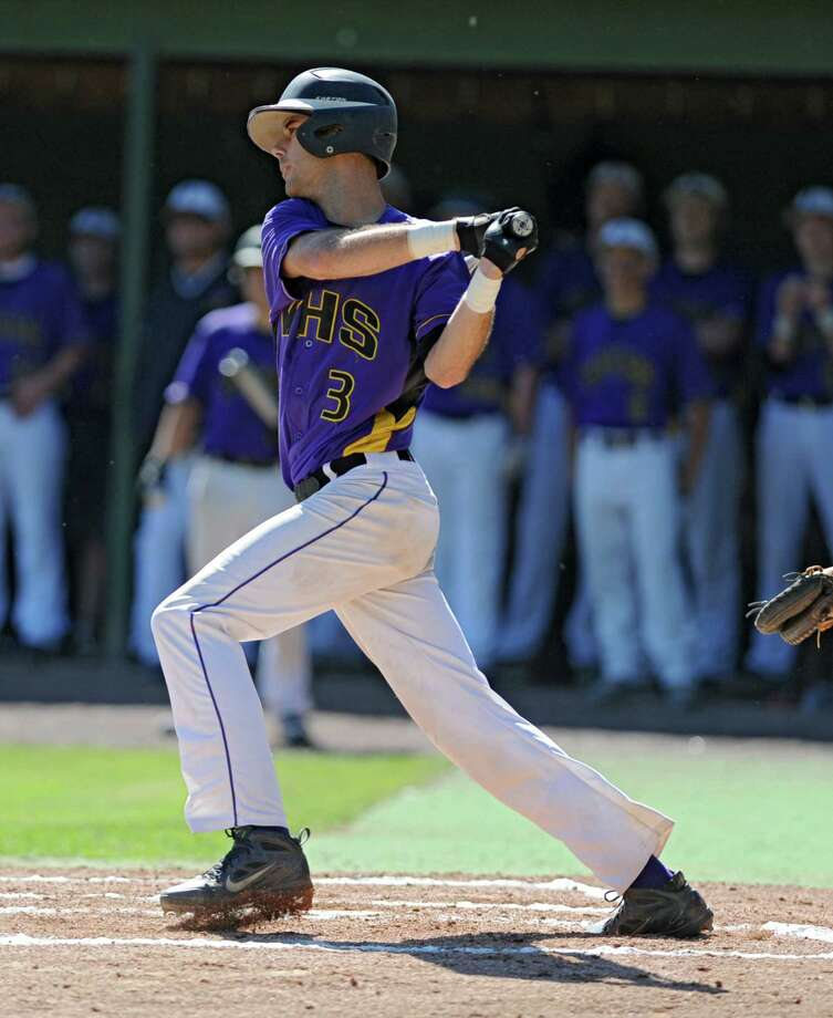 Voorheesville's Nico Church hits a single during the Class C state regional baseball game against Norwood-Norfolk on Monday, June 3, 2013 in Amsterdam, N.Y.  (Lori Van Buren / Times Union) Photo: Lori Van Buren / 00022669A