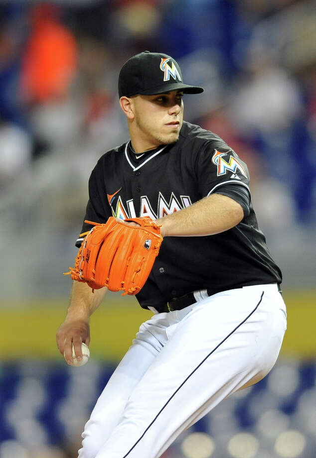 MIAMI, FL - JUNE 14:  Jose Fernandez #16 of the Miami Marlins throws a pitch during the first inning against the St. Louis Cardinals at Marlins Park on June 14, 2013 in Miami, Florida. (Photo by Steve Mitchell/Getty Images) Photo: Steve Mitchell