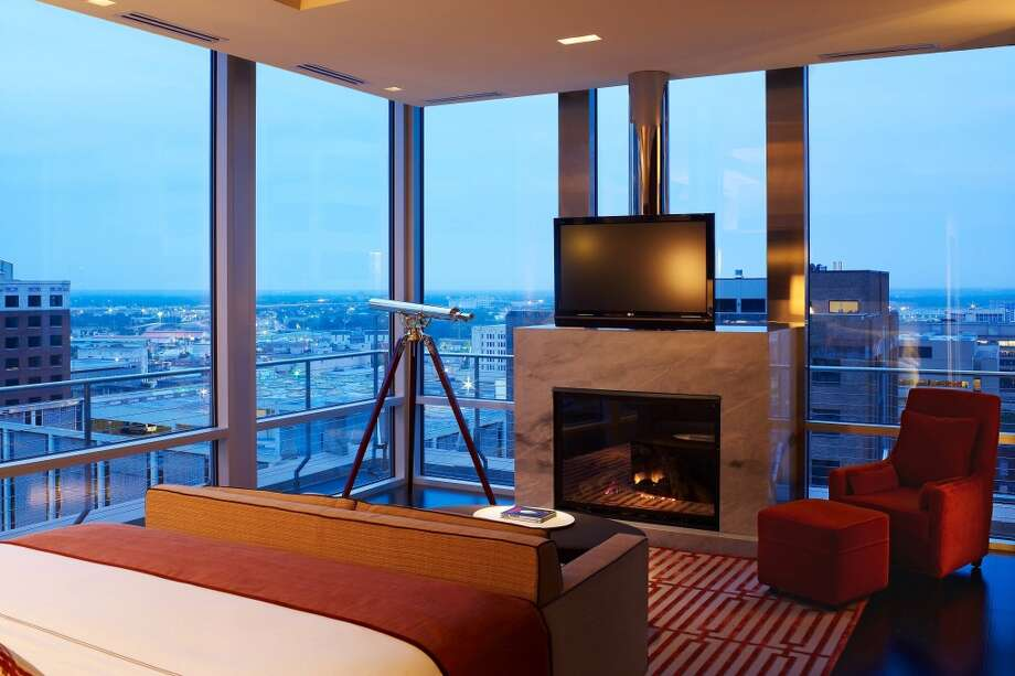 At $9,000 a night, the Presidential Suite at The Joule in Dallas will invite guests to linger and enjoy the over-the top splashy contemporary decor and views of the city from the floor-to-ceiling windows.