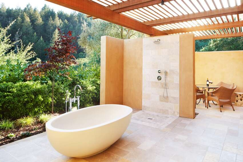 Rooms on both the upper and lower floors of Auberge du Soleil's new Maison Saint-Tropez feature outdoor showers and soaking tubs on private terraces. Rates start at a Côte d'Azur-like $1,325 a night.