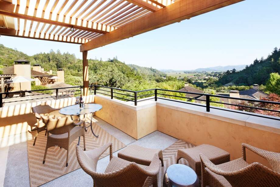 he terrace of the Maison Saint-Tropez Upper Valley View suite provides uninterrupted views of the resort and valley below, with outdoor dining and seating for up to four guests.