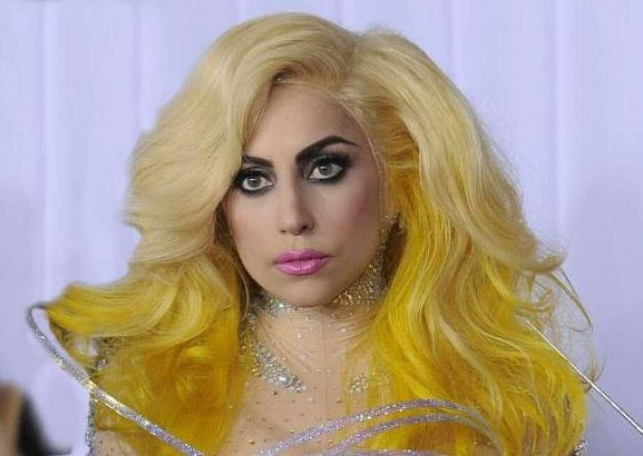 """Lady Gaga's signature line is """"Lady Gaga Fame."""" Photo: AP"""