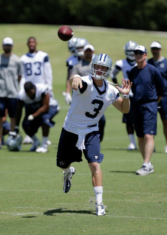 Dallas Cowboys quarterback Nick Stephens (3) passes as the team runs a play during their NFL football minicamp on Thursday, June 13, 2013, in Irving, Texas. (AP Photo/Tony Gutierrez) Photo: Tony Gutierrez, Associated Press / AP