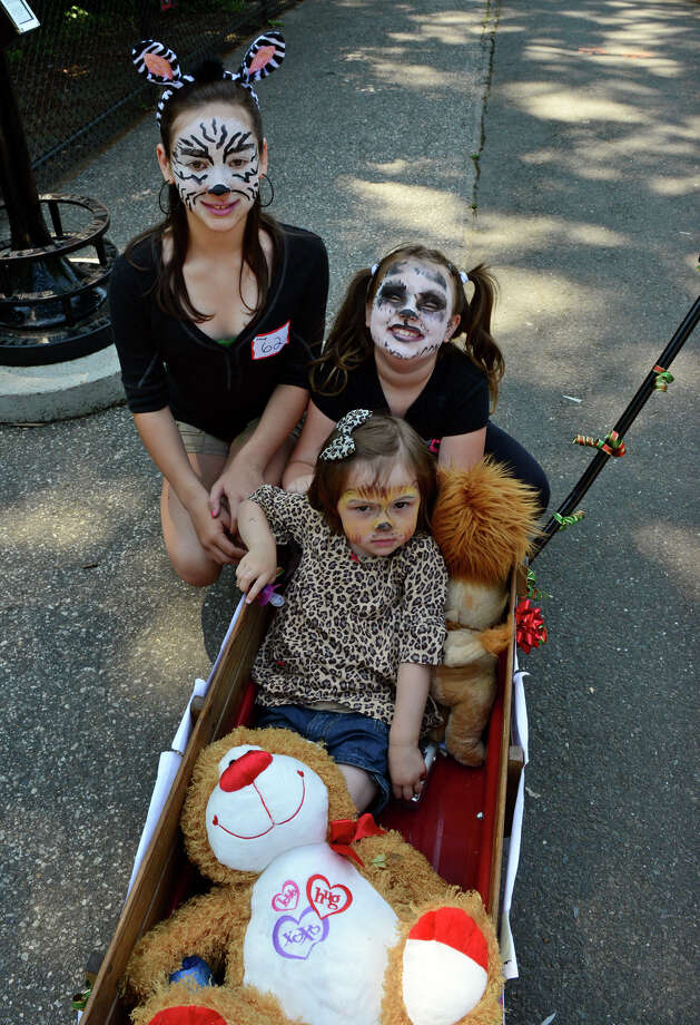 Danielle Burany, 2, of Trumbull, in wagon, and her sisters Chloe, 11, and Amber, 7, take part in the Barnum Festival's Wing Ding Parade at Beardsley Zoo in Bridgeport, Conn. on Saturday June 15, 2013. Photo: Christian Abraham / Connecticut Post