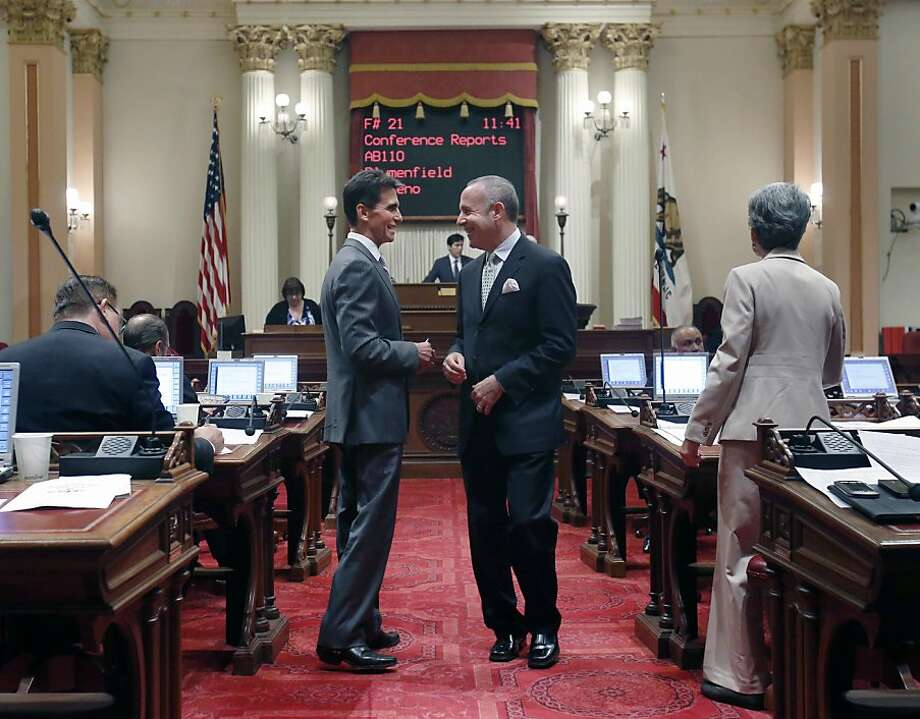State Sen. Mark Leno, D-S.F. (left), chairman of the Senate Budget Committee, visits Friday with Senate President Pro Tem Darrell Steinberg, D-Sacramento. Photo: Rich Pedroncelli, Associated Press