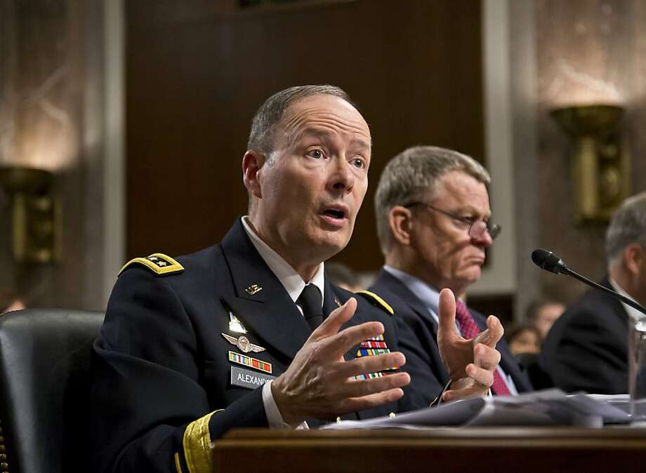 The National Security Agency's Gen. Keith Alexander answers questions Wednesday before the Senate Appropriations Committee. At right is Rand Beers, homeland security undersecretary. Photo: J. Scott Applewhite, Associated Press