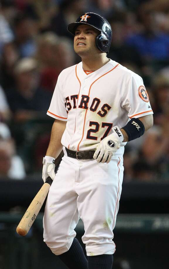 Astros second baseman Jose Altuve reacts to a called strike.