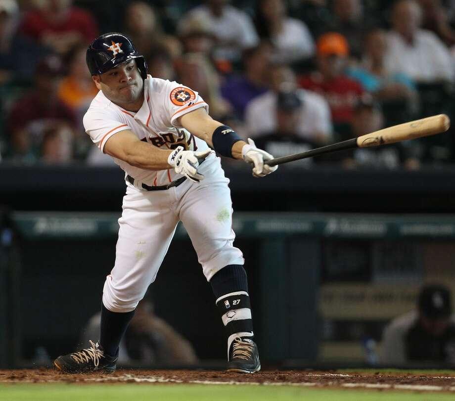 Astros second baseman Jose Altuve strikes out.