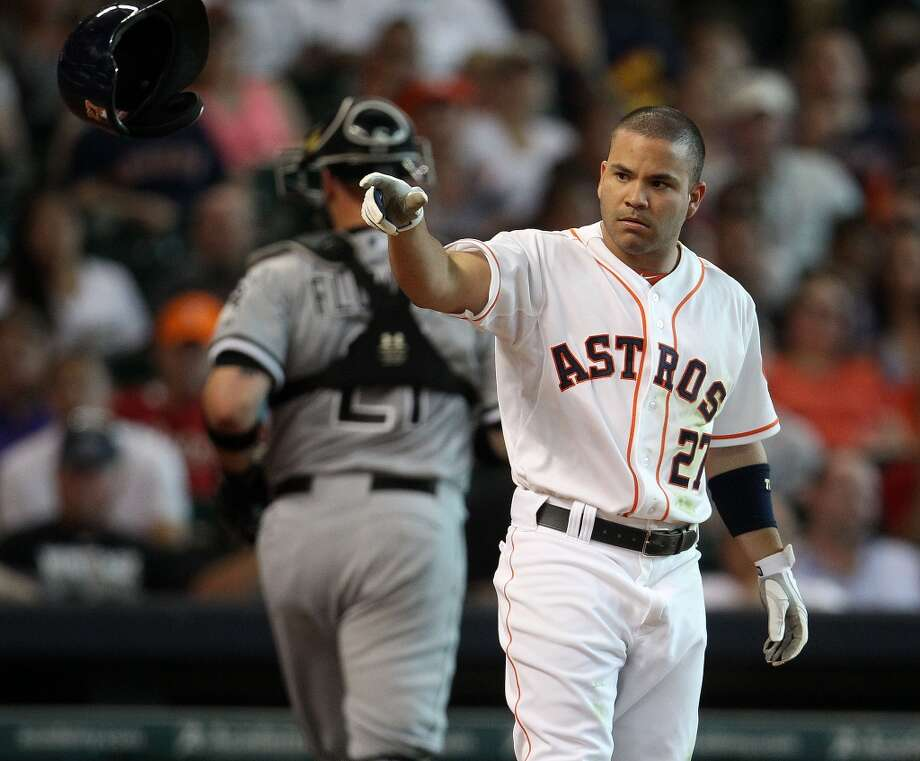 Astros second baseman Jose Altuve reacts after he struck out.
