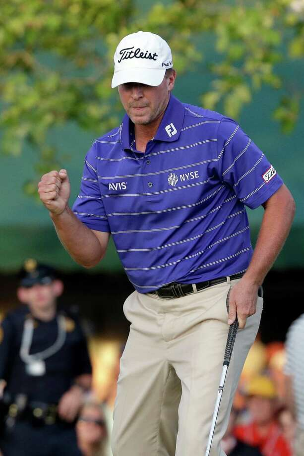 Steve Stricker was pumped after sinking a tricky putt for par on No. 18 on Saturday that left him tied for second and one stroke out of the U.S. Open lead. Photo: Morry Gash, STF / AP