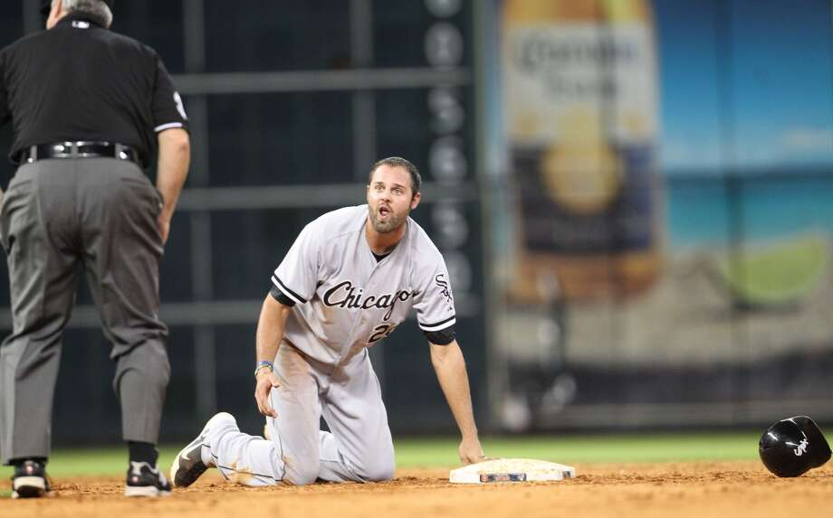 White Sox Jordan Danks reacts after getting picked off at second to end the game.