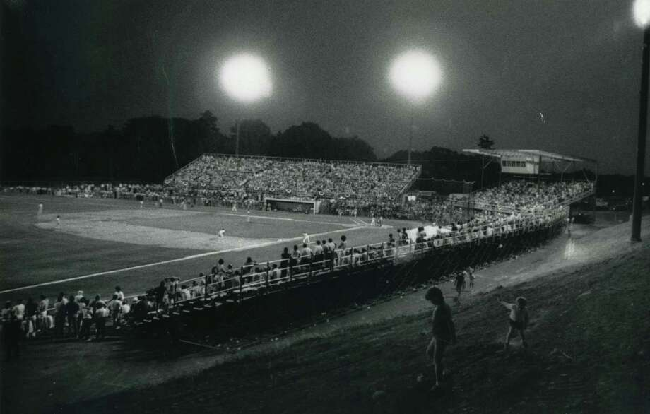 A full crowd catches the first inning of an Albany-Colonie game July 20, 1983 at Heritage Park in Colonie, N.Y. ( Times Union Archive )