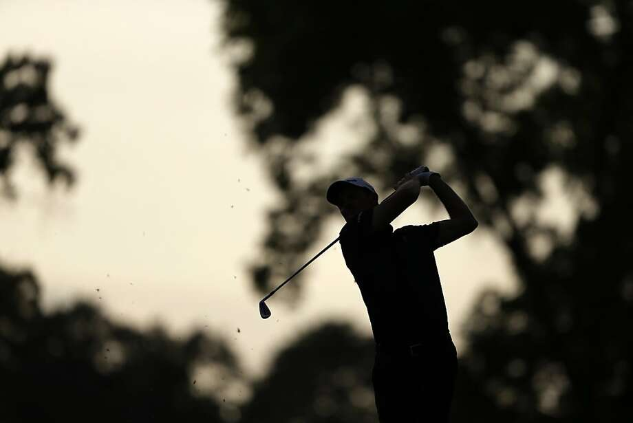 Justin Rose, of England, hits down the 18th fairway during the third round of the U.S. Open golf tournament at Merion Golf Club, Saturday, June 15, 2013, in Ardmore, Pa. (AP Photo/Darron Cummings) Photo: Darron Cummings, Associated Press