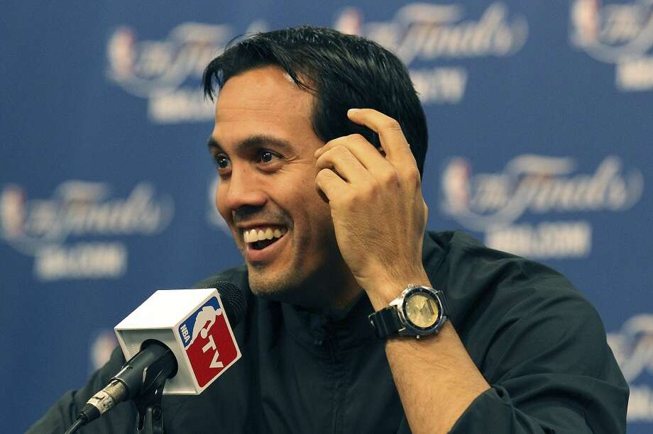 Miami Heat head coach Erik Spoelstra reacts while taking questions during practice and media sessions at the at the AT&T Center on Saturday, June 15, 2013. (Kin Man Hui / San Antonio Express-News)