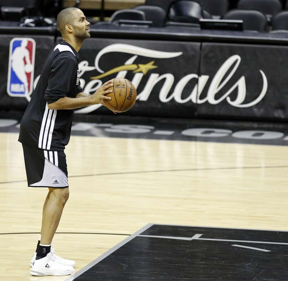 San Antonio Spurs' Tony Parker shoots during practice Saturday June 15, 2013 at the AT&T Center. (Edward A. Ornelas / San Antonio Express-News)