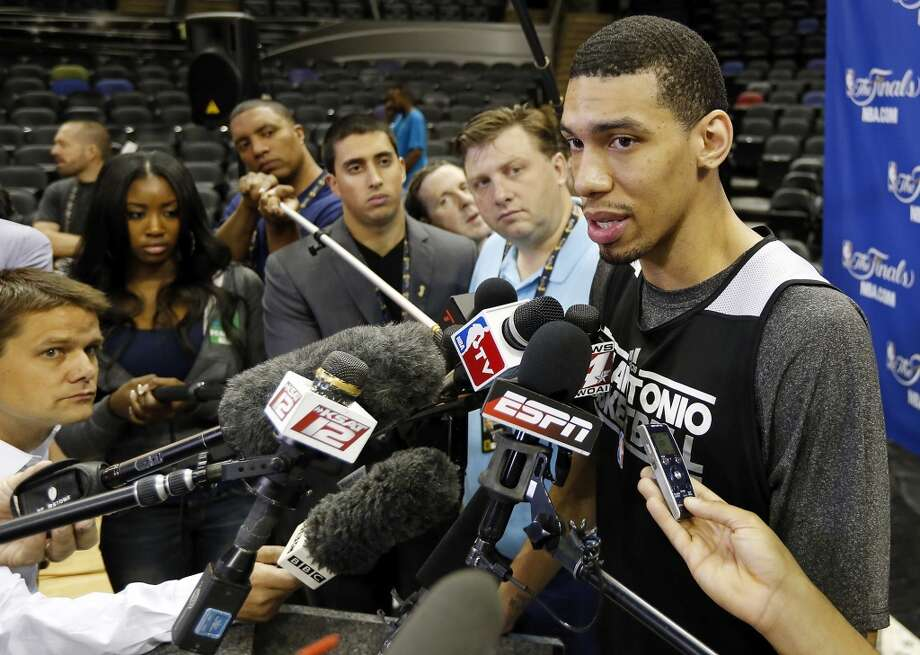 San Antonio Spurs' Danny Green answers questions from the media during practice Saturday June 15, 2013 at the AT&T Center. (Edward A. Ornelas / San Antonio Express-News)
