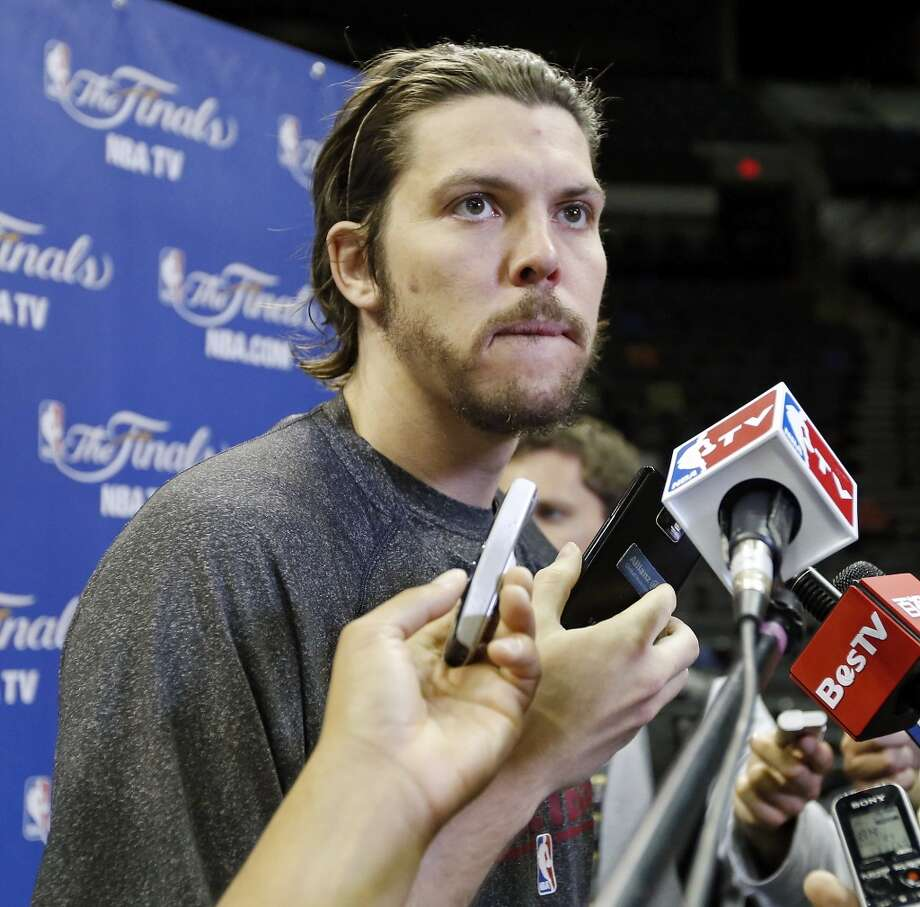 Miami Heat's Mike Miller answers questions from the media during practice Saturday June 15, 2013 at the AT&T Center. (Edward A. Ornelas / San Antonio Express-News)
