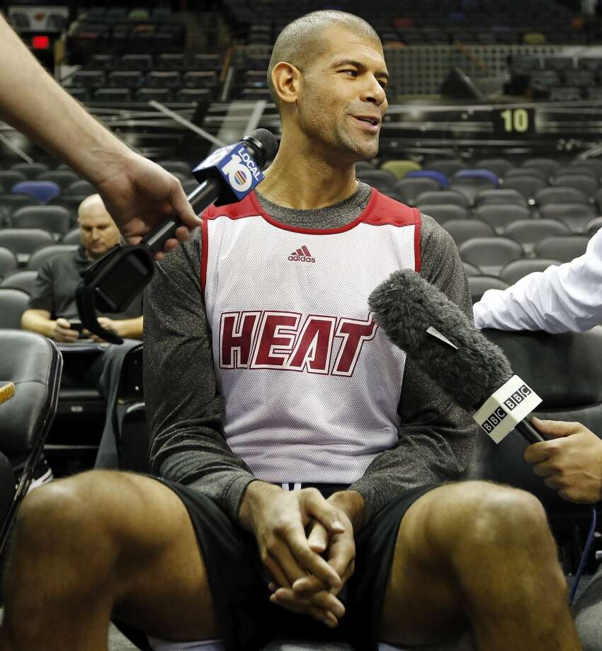 Miami Heat's Shane Battier answers questions from the media during practice Saturday June 15, 2013 at the AT&T Center. (Edward A. Ornelas / San Antonio Express-News)