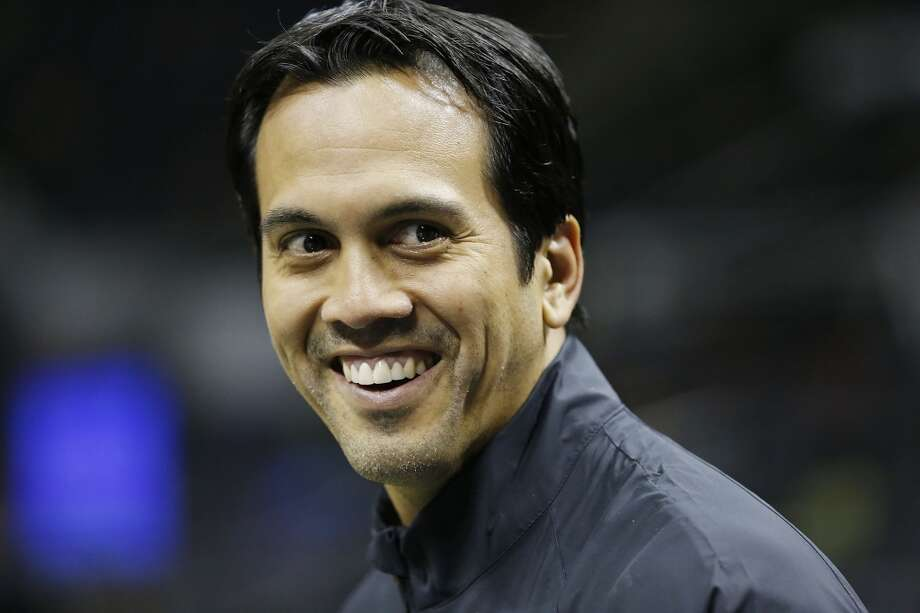 Miami Heat head coach Erik Spoelstra answers questions from the media during practice Saturday June 15, 2013 at the AT&T Center. (Edward A. Ornelas / San Antonio Express-News)