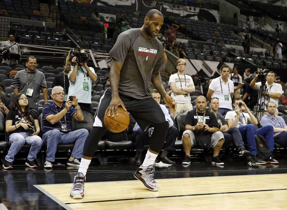 Miami Heat's LeBron James drills during practice Saturday June 15, 2013 at the AT&T Center. (Edward A. Ornelas / San Antonio Express-News)