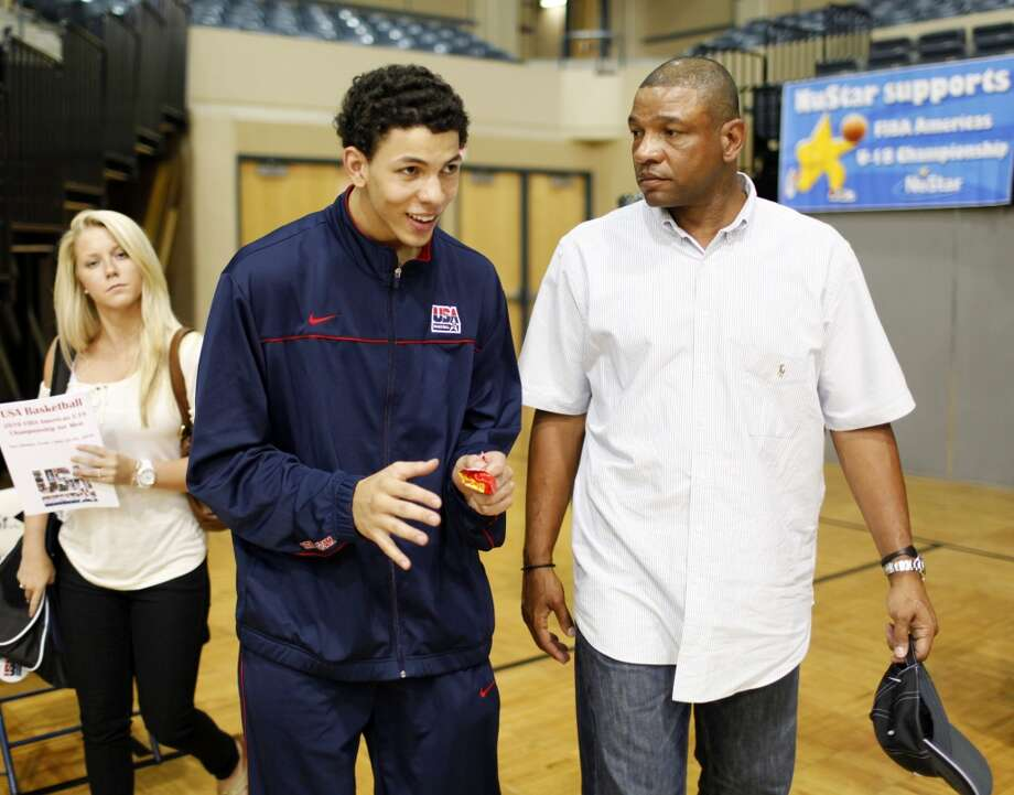 Son and father talk about Austin's performance after the FIBA Americas U18 tournament game between the U.S. Virgin Islands and the USA at St. Mary's University on June 26, 2010.
