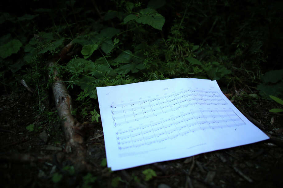 "A sheet of music rests on the forest floor during a mini symphony concert in the woods of Ravenna Park ravine in Seattle. During the concert, performers played excerpts from composer Nat Evans' ""Hungry Ghosts."" The song was performed by candlelight. Photographed on Saturday, June 15, 2013. Photo: JOSHUA TRUJILLO, SEATTLEPI.COM / SEATTLEPI.COM"