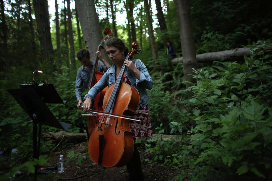 "John Teske plays the double bass and Natalie Mai Hall plays the cello during a mini symphony concert in the woods of Ravenna Park ravine in Seattle. During the concert, performers played excerpts from composer Nat Evans' ""Hungry Ghosts."" The song was performed by candlelight. Photographed on Saturday, June 15, 2013. Photo: JOSHUA TRUJILLO, SEATTLEPI.COM / SEATTLEPI.COM"