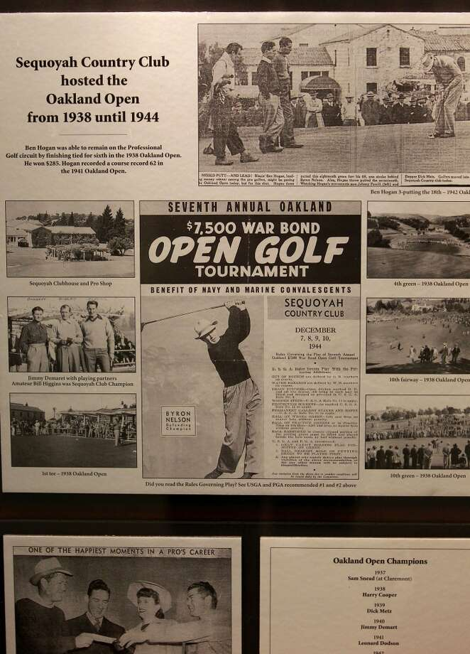 Memorabilia on display showing the days of the Oakland Open hosted by the Sequoyah Country CLub from 1938-1944, displayed in the clubhouse on Wed. June 12, 2013 in Oakland, Calif. Sequoyah Country Club high in the Oakland hills is celebrating its one hundred year anniversary. The club founded in 1913 was the site of the old western open golf tournament.