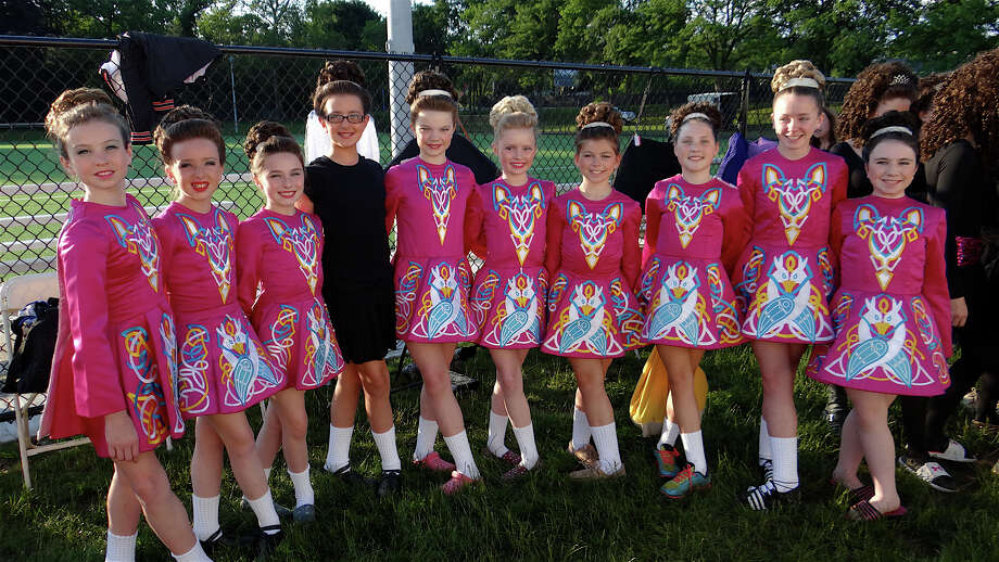 Lenihan School of Irish Dance junior dancers at the 25th Fairfield County Irish Festival's opening night Friday on the campus of Fairfield University. Photo: Mike Lauterborn / Fairfield Citizen