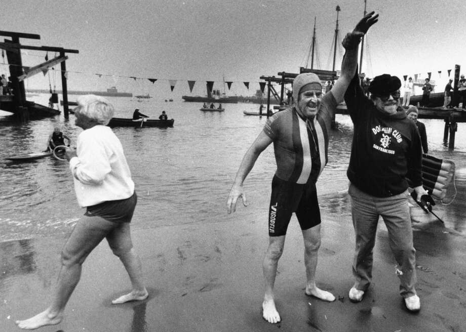 George Farnsworth, 67 yrs., swimming in the annual New Years Day Alcatraz race. George finished last, but was the oldest and probably the happiest. January 1, 1986.