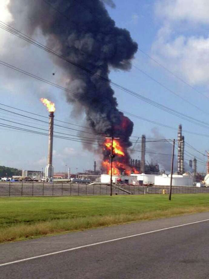 This photo provided by Ryan Meador shows an explosion at The Williams Companies Inc. plant in the Ascension Parish town of Geismar La., Thursday, June 13, 2013. The fire broke out Thursday morning at the plant, which the company's website says puts out about 1.3 billion pounds of ethylene and 90 million pounds of polymer grade propylene a year. Photo: AP