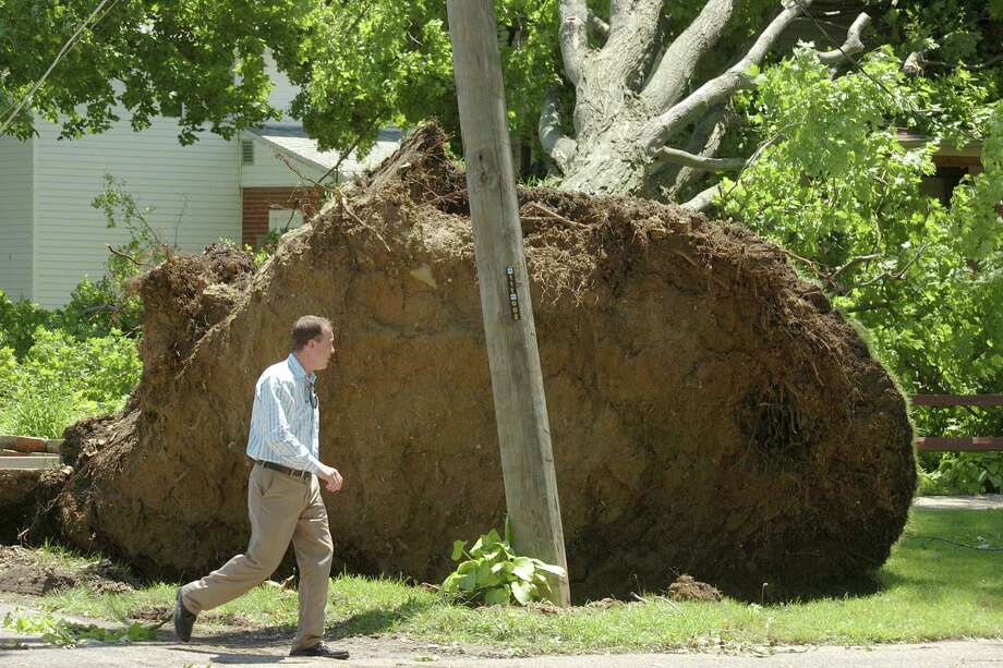 Darren Crandell walks around an uprooted tree at the home of his father, Dan Crandell, in Wabash, Ind., on Thursday, June 13, 2013. The root ball of the tree, which fell onto the house during Wednesday night's storms, rose approximately ten feet above the sidewalk. Photo: AP