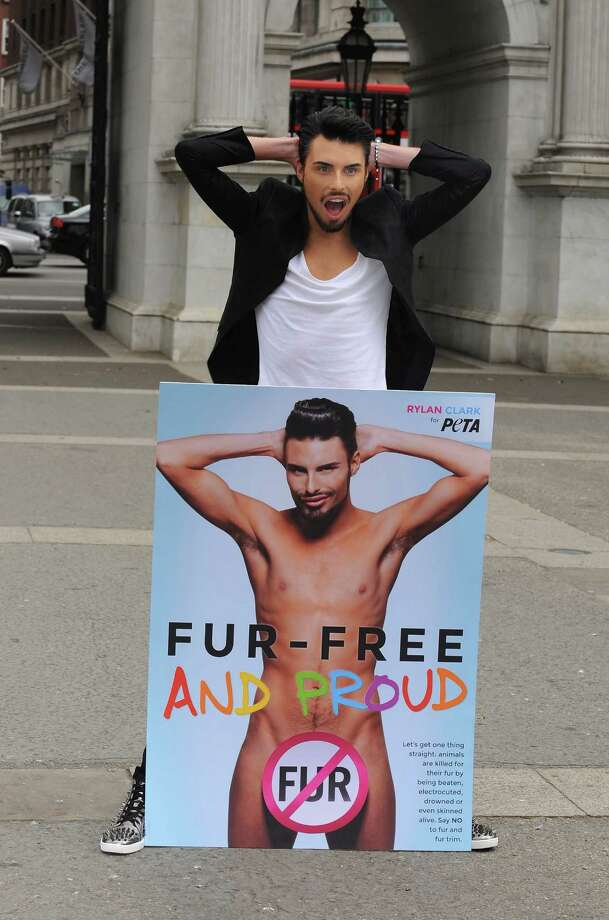 Rylan Clark attends a photocall to launch his new anti fur advert in support of PETA at Marble Arch on June 12, 2013 in London, England.  (Photo by Ferdaus Shamim/WireImage) Photo: Ferdaus Shamim, Getty Images / 2013 Ferdaus Shamim