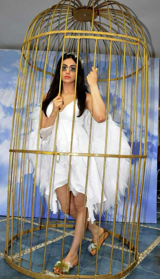 Indian Bollywood film actress Adah Sharma locks herself inside a cage for a PETA Campaign in protest against the caging of birds, in Mumbai on June 11, 2013. Photo: STR, Getty Images / 2013 AFP