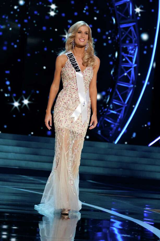 This photo provided by the Miss Universe Organization, Miss Indiana USA 2013, Emily Hart competes in her evening gown during the 2013 Miss USA Competition Preliminary Show  in Las Vegas  on Wednesday June 12, 2013.  She will compete for the title of Miss USA 2013 and the coveted Miss USA Diamond Nexus Crown on June 16, 2013. Photo: AP