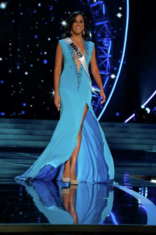 This photo provided by the Miss Universe Organization, Miss Hawaii USA 2013, Brianna Acosta competes in her evening gown during the 2013 Miss USA Competition Preliminary Show  in Las Vegas  on Wednesday June 12, 2013.  She will compete for the title of Miss USA 2013 and the coveted Miss USA Diamond Nexus Crown on June 16, 2013. Photo: AP
