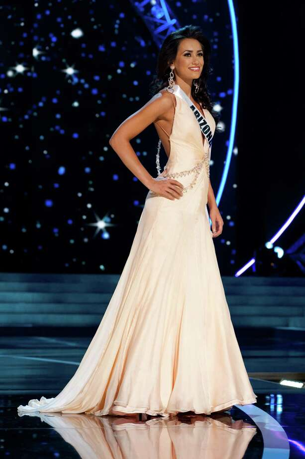 This photo provided by the Miss Universe Organization, Miss Arizona USA 2013, Rachel Massie competes in her evening gown during the 2013 Miss USA Competition Preliminary Show  in Las Vegas  on Wednesday June 12, 2013.  She will compete for the title of Miss USA 2013 and the coveted Miss USA Diamond Nexus Crown on June 16, 2013. Photo: AP