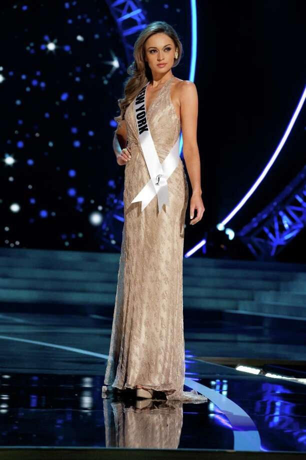 This photo provided by the Miss Universe Organization, Miss New York USA 2013, Joanne Nosuchinsky competes in her evening gown during the 2013 Miss USA Competition Preliminary Show  in Las Vegas  on Wednesday June 12, 2013.  She will compete for the title of Miss USA 2013 and the coveted Miss USA Diamond Nexus Crown on June 16, 2013. Photo: AP