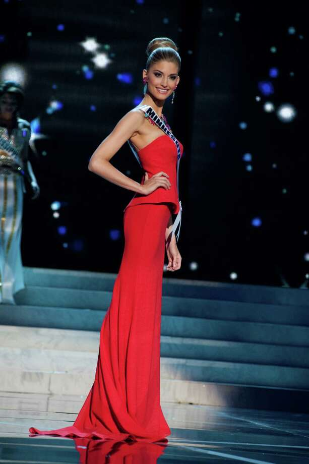 This photo provided by the Miss Universe Organization, Miss Minnesota USA 2013, Danielle Hooper competes in her evening gown during the 2013 Miss USA Competition Preliminary Show  in Las Vegas  on Wednesday June 12, 2013.  She will compete for the title of Miss USA 2013 and the coveted Miss USA Diamond Nexus Crown on June 16, 2013. Photo: AP