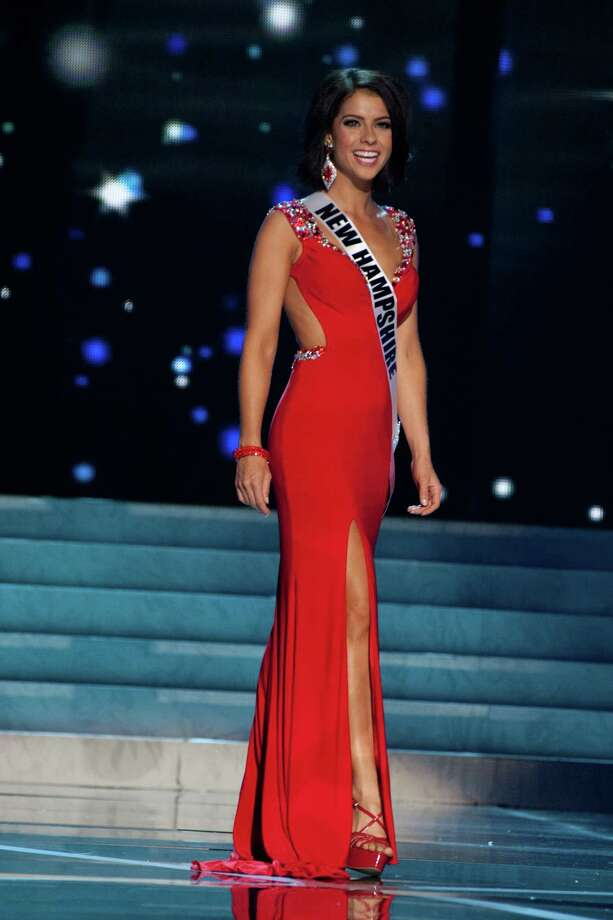 This photo provided by the Miss Universe Organization, Miss New Hampshire USA 2013, Amber Faucher competes in her evening gown during the 2013 Miss USA Competition Preliminary Show  in Las Vegas  on Wednesday June 12, 2013.  She will compete for the title of Miss USA 2013 and the coveted Miss USA Diamond Nexus Crown on June 16, 2013. Photo: AP