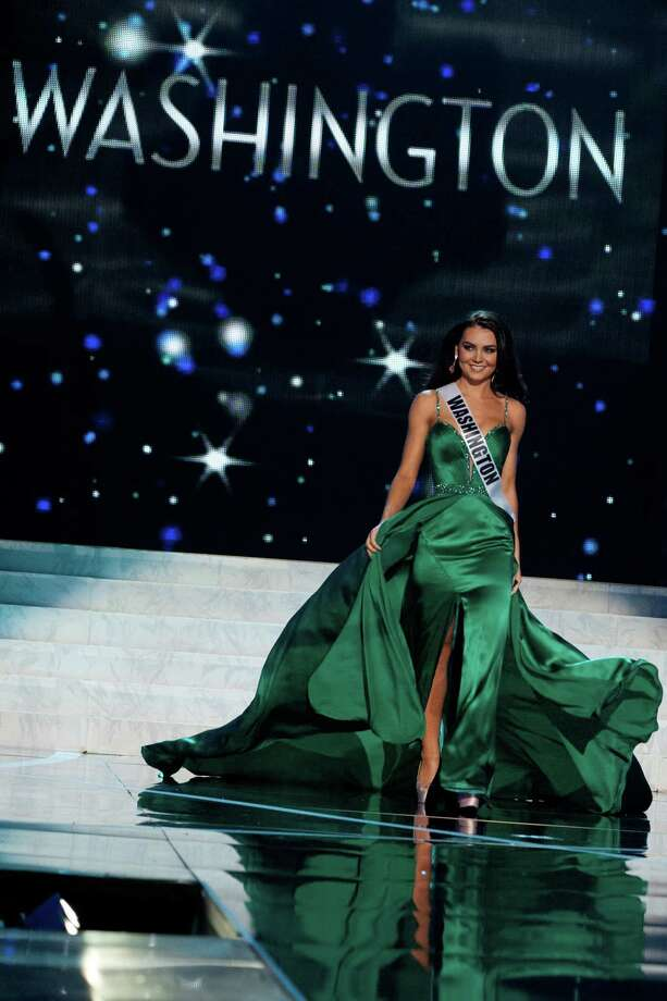 This photo provided by the Miss Universe Organization, Miss Washington USA 2013, Cassandra Searles competes in her evening gown during the 2013 Miss USA Competition Preliminary Show  in Las Vegas  on Wednesday June 12, 2013.  She will compete for the title of Miss USA 2013 and the coveted Miss USA Diamond Nexus Crown on June 16, 2013. Photo: AP