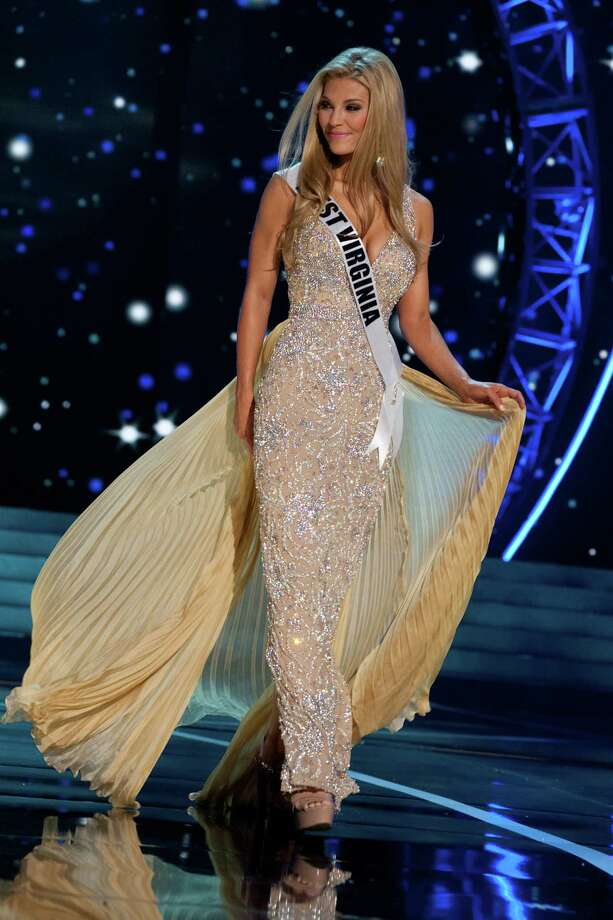 This photo provided by the Miss Universe Organization, Miss West Virginia USA 2013, Chelsea Welch competes in her evening gown during the 2013 Miss USA Competition Preliminary Show  in Las Vegas  on Wednesday June 12, 2013.  She will compete for the title of Miss USA 2013 and the coveted Miss USA Diamond Nexus Crown on June 16, 2013. Photo: AP