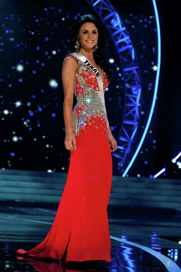 This photo provided by the Miss Universe Organization, Miss Texas USA 2013, Ali Nugent competes in her evening gown during the 2013 Miss USA Competition Preliminary Show  in Las Vegas  on Wednesday June 12, 2013.  She will compete for the title of Miss USA 2013 and the coveted Miss USA Diamond Nexus Crown on June 16, 2013. Photo: AP