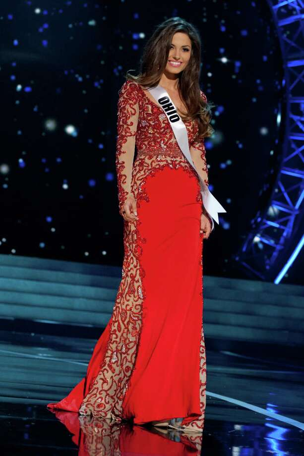 This photo provided by the Miss Universe Organization, Miss Ohio USA 2013, Kristin Smith competes in her evening gown during the 2013 Miss USA Competition Preliminary Show  in Las Vegas  on Wednesday June 12, 2013.  She will compete for the title of Miss USA 2013 and the coveted Miss USA Diamond Nexus Crown on June 16, 2013. Photo: AP