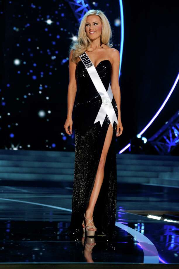 This photo provided by the Miss Universe Organization, Miss Nevada USA 2013, Chelsea Caswell competes in her evening gown during the 2013 Miss USA Competition Preliminary Show  in Las Vegas  on Wednesday June 12, 2013.  She will compete for the title of Miss USA 2013 and the coveted Miss USA Diamond Nexus Crown on June 16, 2013. Photo: AP