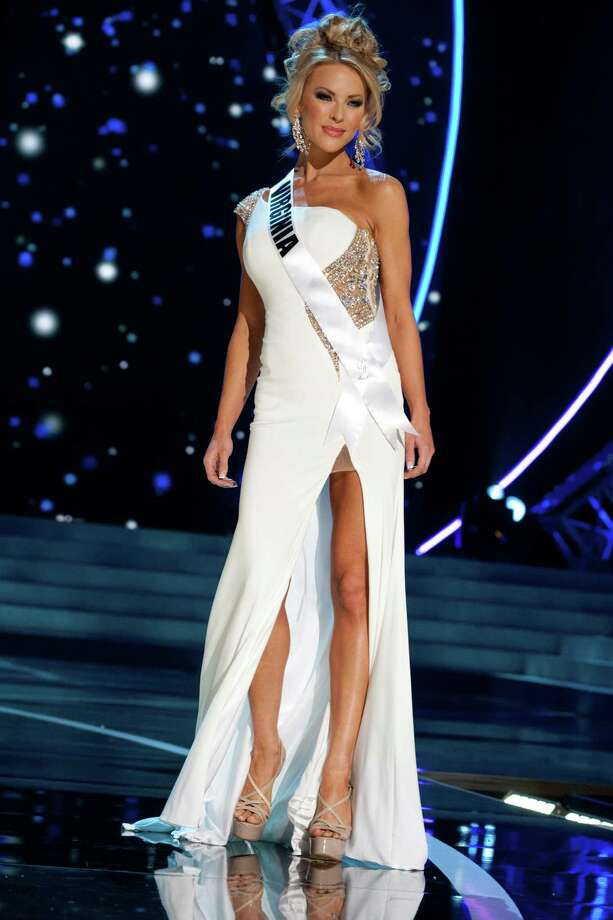 This photo provided by the Miss Universe Organization, Miss Virginia USA 2013, Shannon McAnally competes in her evening gown during the 2013 Miss USA Competition Preliminary Show  in Las Vegas  on Wednesday June 12, 2013.  She will compete for the title of Miss USA 2013 and the coveted Miss USA Diamond Nexus Crown on June 16, 2013. Photo: AP