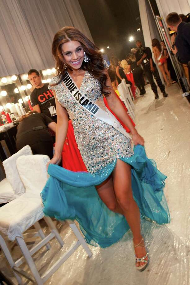 This photo provided by the Miss Universe Organization,  Miss Rhode Island USA 2013, Brittany Stenovitch gets ready to go on stage prior to the 2013 Miss USA Competition Preliminary Show  in Las Vegas  on Wednesday June 12, 2013.  She will compete for the title of Miss USA 2013 and the coveted Miss USA Diamond Nexus Crown on June 16, 2013. Photo: AP