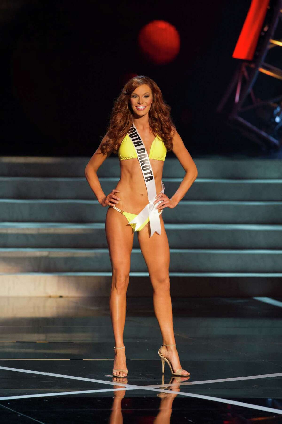 In this photo provided by the Miss Universe Organization, Miss South Dakota USA 2013, Jessica Albers, competes in her swimsuit during the 2013 Miss USA Competition Preliminary Show in Las Vegas on Wednesday June 12, 2013. She will compete for the title of Miss USA 2013 and the coveted Miss USA Diamond Nexus Crown on June 16, 2013.
